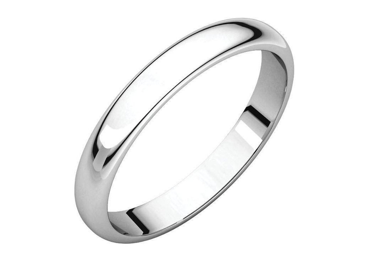 3-12mm Classic Half Round Wedding Band. White Gold, Palladium & Platinum