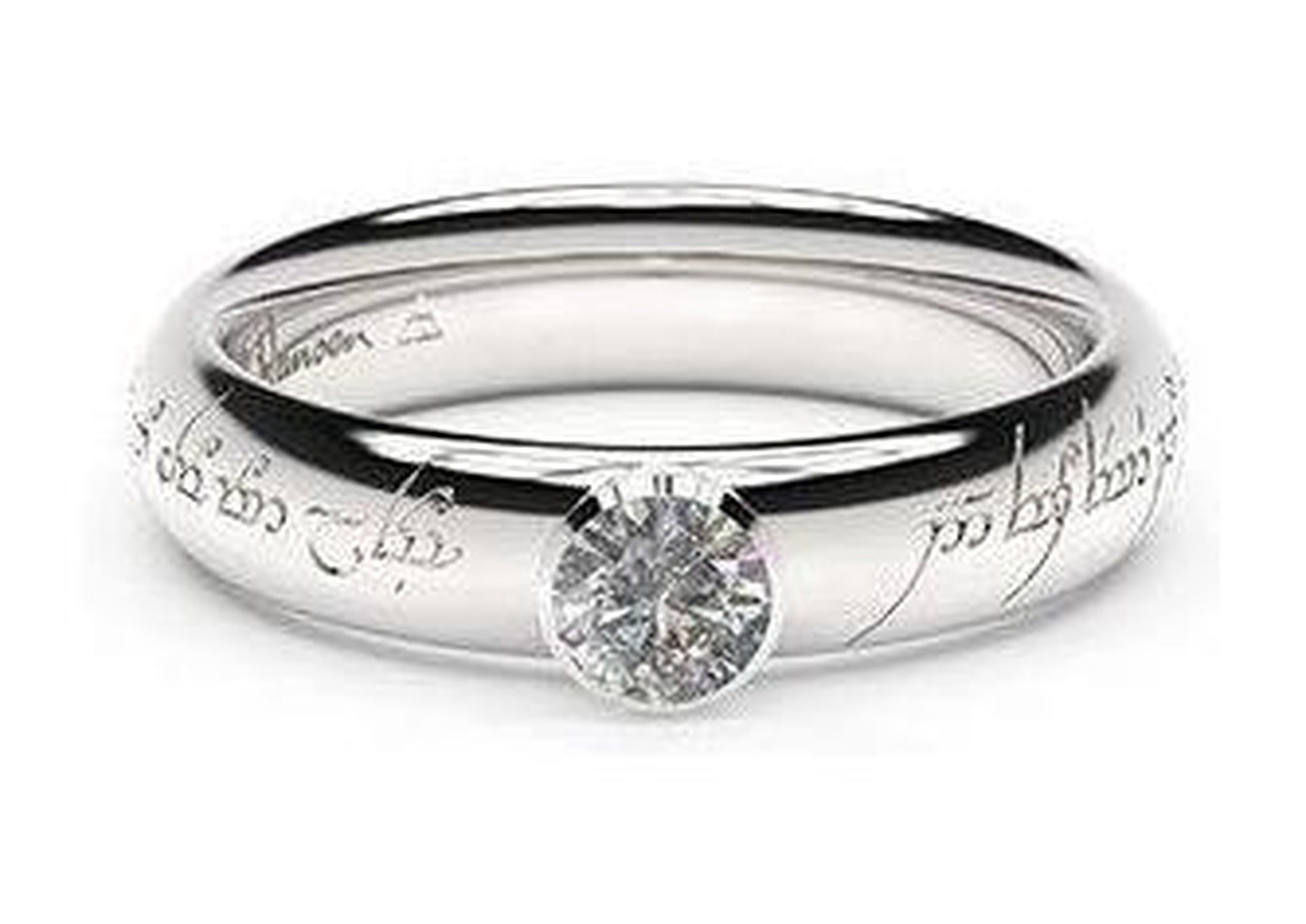 Elegant Elvish Engagement Ring, ~.33ct 14ct White Gold