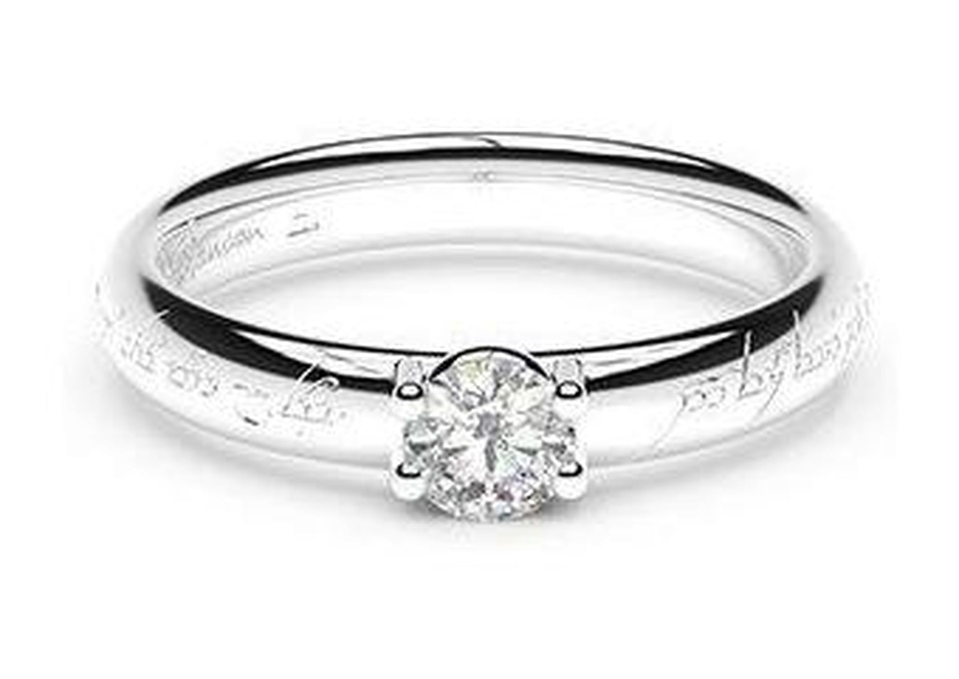 Petite Contemporary Elvish Engagement Ring, ~.33ct  Platinum