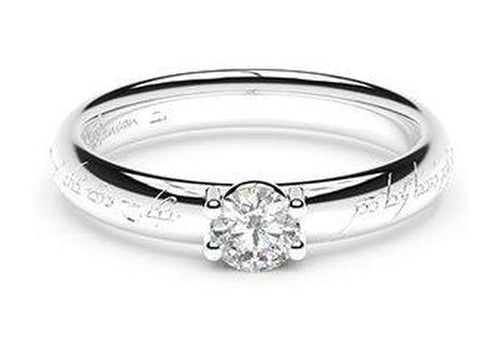 Petite Contemporary Elvish Engagement Ring, ~.33ct 9ct White Gold