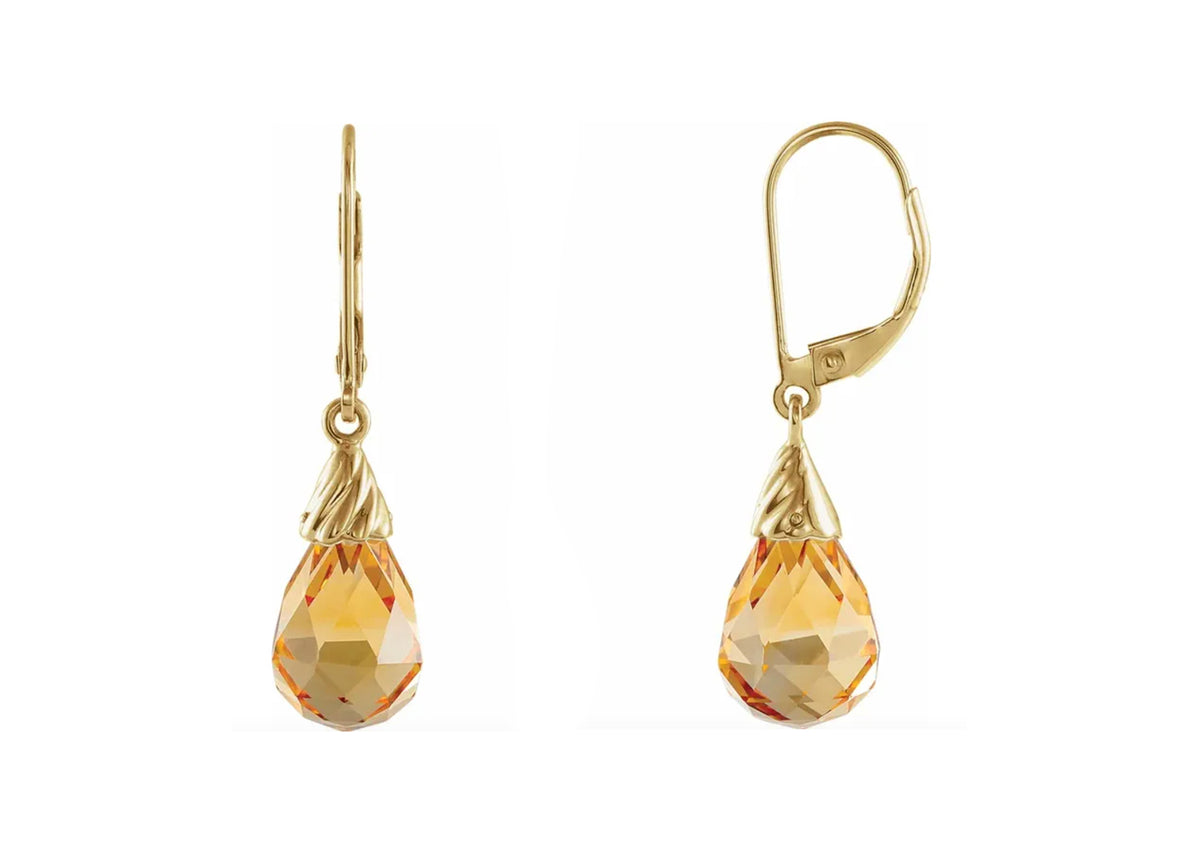 Briolette Citrine Earrings, 14ct Yellow Gold