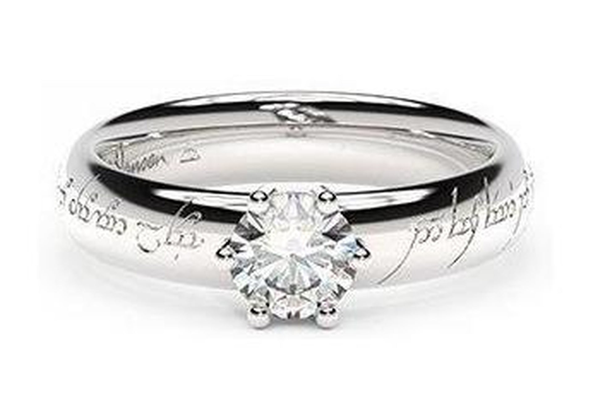 Classic Elvish Engagement Ring, ~.50ct Platinum