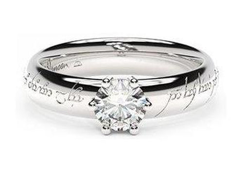 Classic Elvish Engagement Ring, ~.50ct Palladium