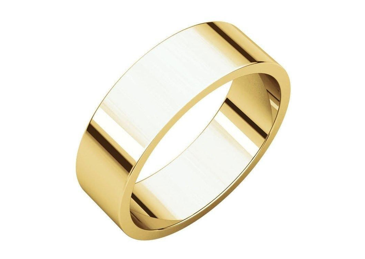 3-12mm Classic Flat Wedding Band. Yellow Gold.