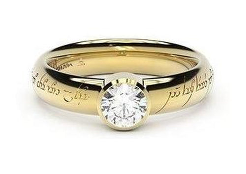 Modern Elvish Engagement Ring, ~.50ct 18ct Yellow Gold