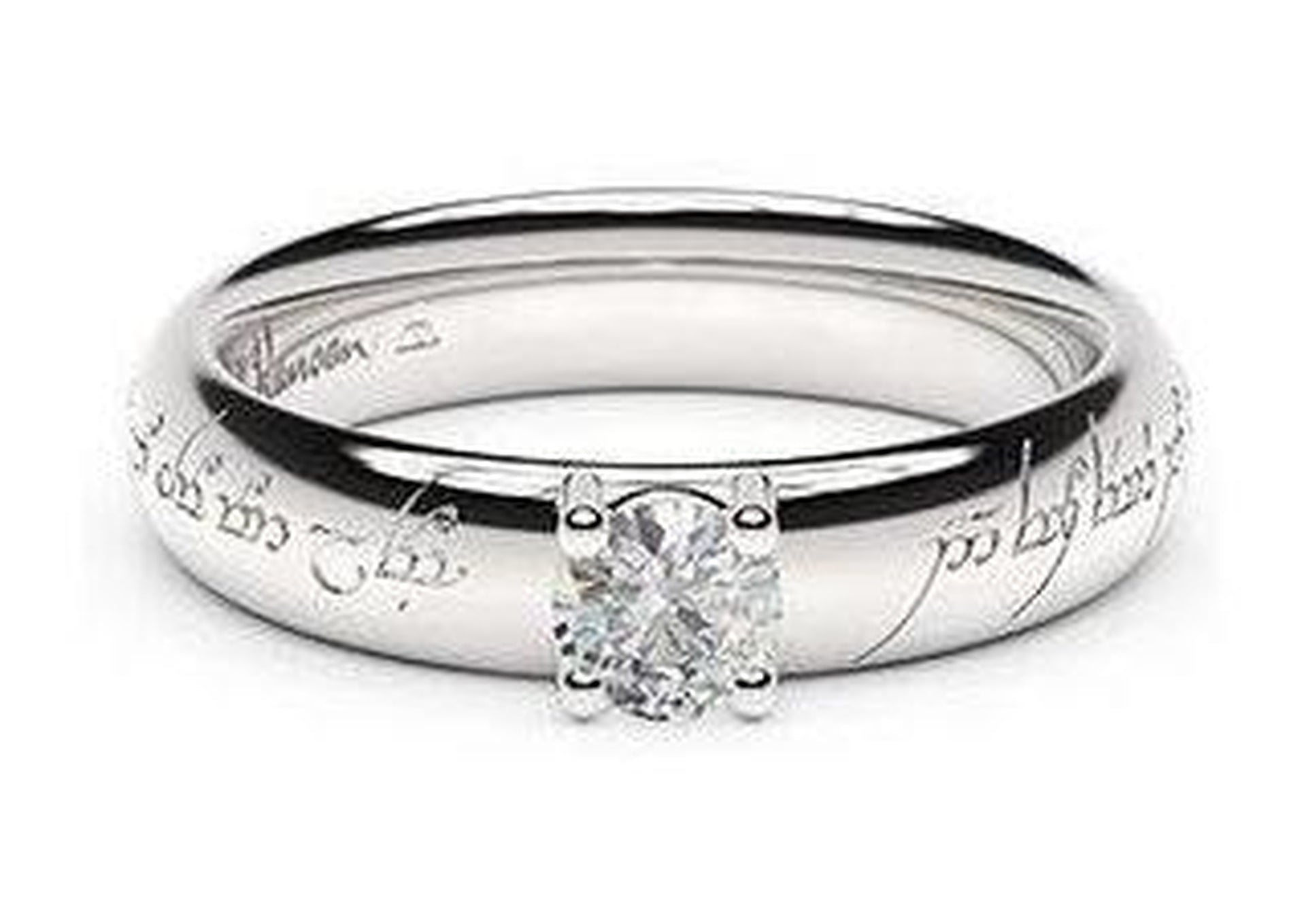 Contemporary Elvish Engagement Ring, ~.33ct 14ct White Gold