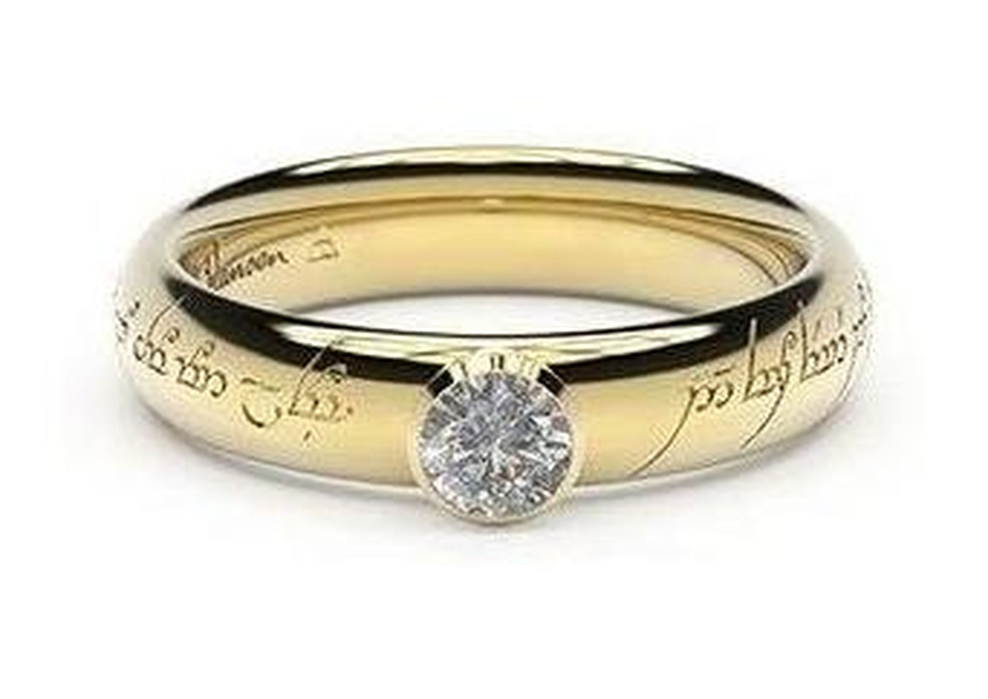 Elegant Elvish Engagement Ring, ~.33ct 14ct Yellow Gold