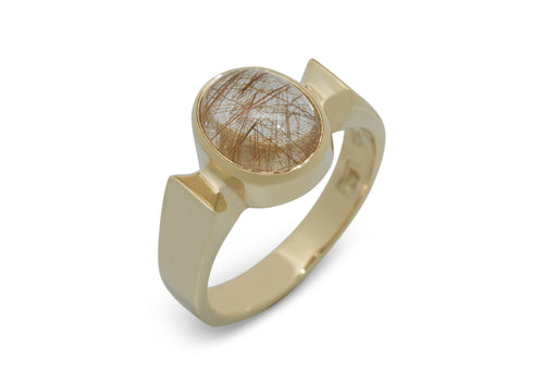 Classic Oval Cabochon Gemstone Ring, Yellow Gold