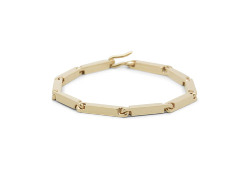 Hand Crafted Block Bracelet, Yellow Gold