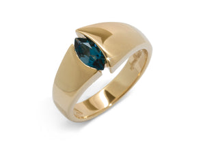 Alluring Marquise Gemstone Ring, Yellow Gold