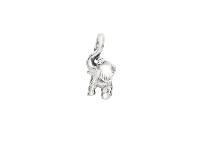 Elephant Charm in Sterling Silver and Diamond