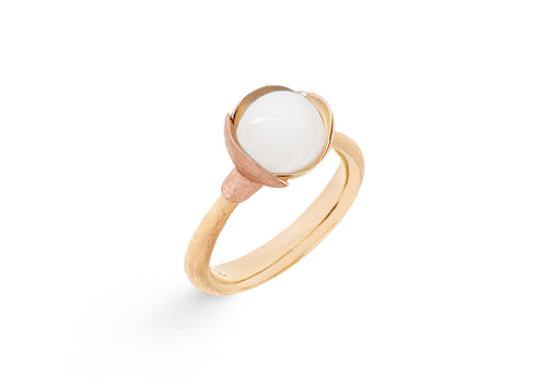 Lotus Ring in 18ct Yellow Gold with White Moonstone