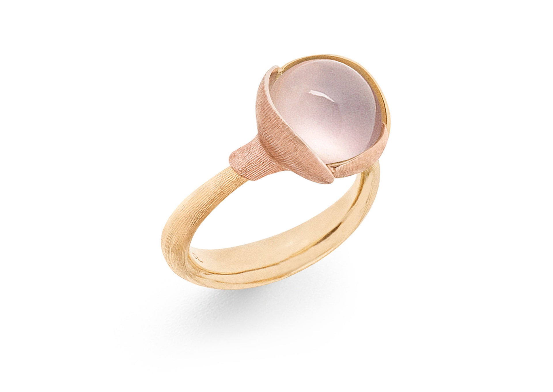 Lotus Ring in 18ct Yellow Gold with Rose Quartz