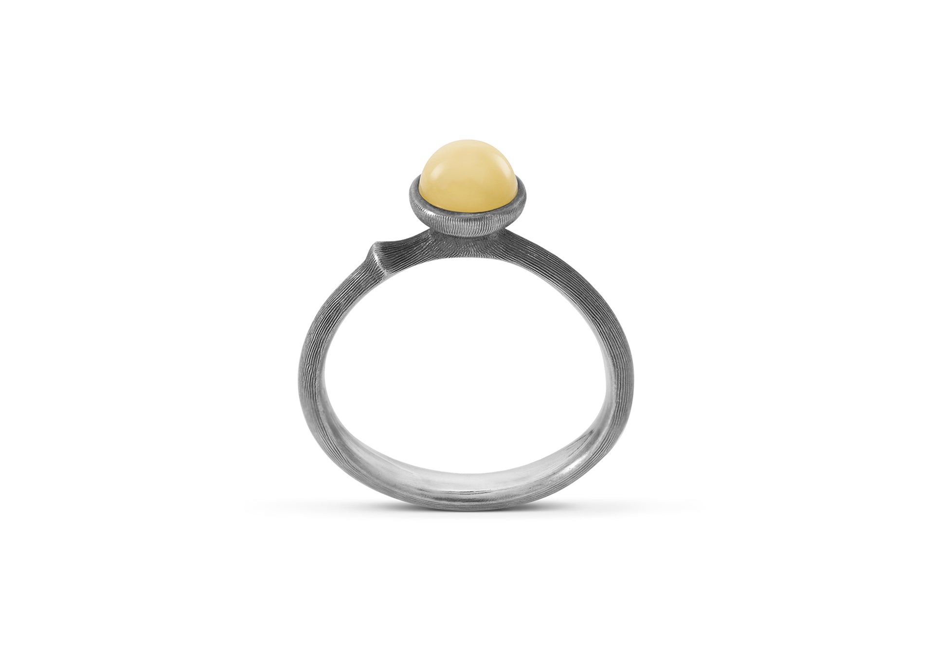 Lotus Ring in Sterling Silver with Amber