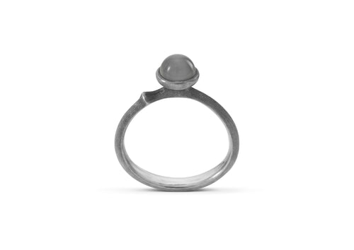Lotus Ring in Sterling Silver with Grey Moonstone