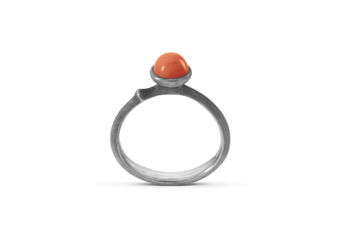 Lotus Ring in Sterling Silver with Red Coral