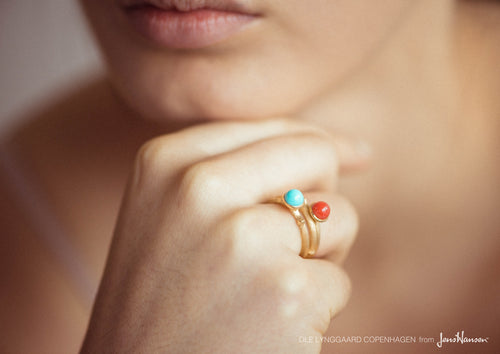 Lotus Ring in 18ct Yellow Gold with Red Coral