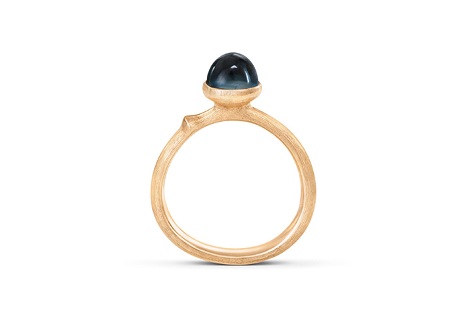 Lotus Ring in 18ct Yellow Gold with London Blue Topaz