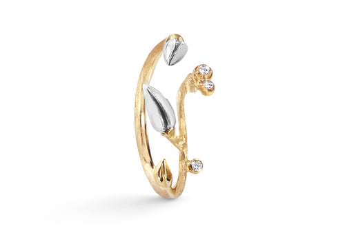 Forest Ring with Diamonds in 18ct Yellow Gold and Silver
