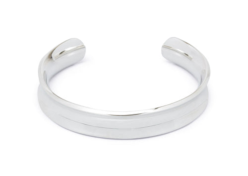 Wide Concave Cuff Bangle, Sterling Silver