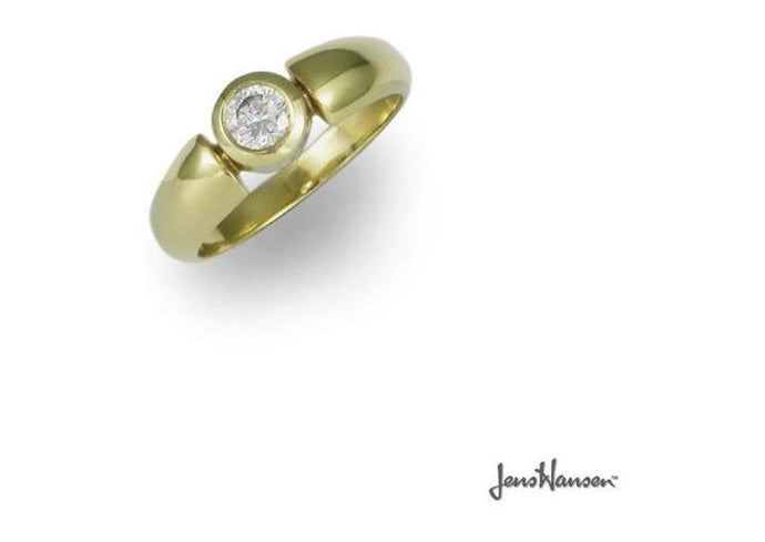 18ct Gold Ring with Brilliant cut Diamond   - Jens Hansen