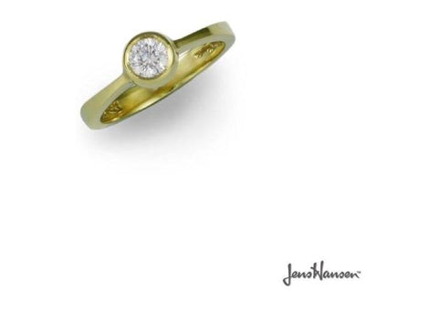 18ct Gold & Bezel set Diamond Ring Design   - Jens Hansen