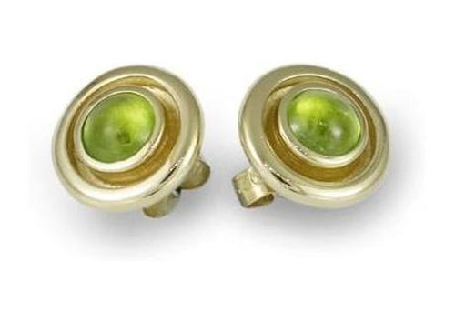 18ct Gold Stud Earrings with Apple Green Peridots   - Jens Hansen