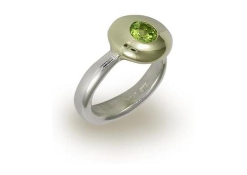 Silver & Gold button ring with a Green Peridot   - Jens Hansen