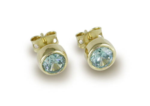 Gemstone Bezel Studs, Yellow Gold
