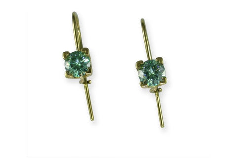 14ct Green Moissanite Hook Earrings   - Jens Hansen