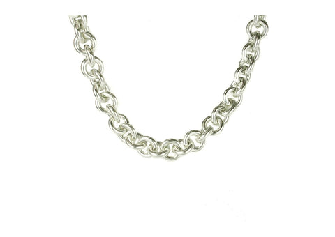Pure Silver Open Round Link Necklace