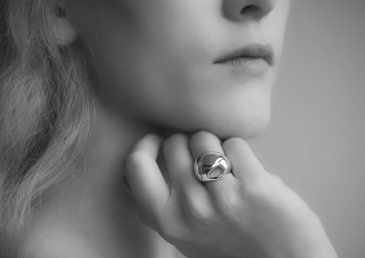 The Silver Kiwi Ring, Yellow Gold
