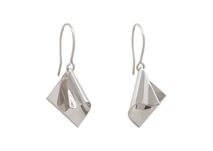 Folded Drop Earrings, White Gold