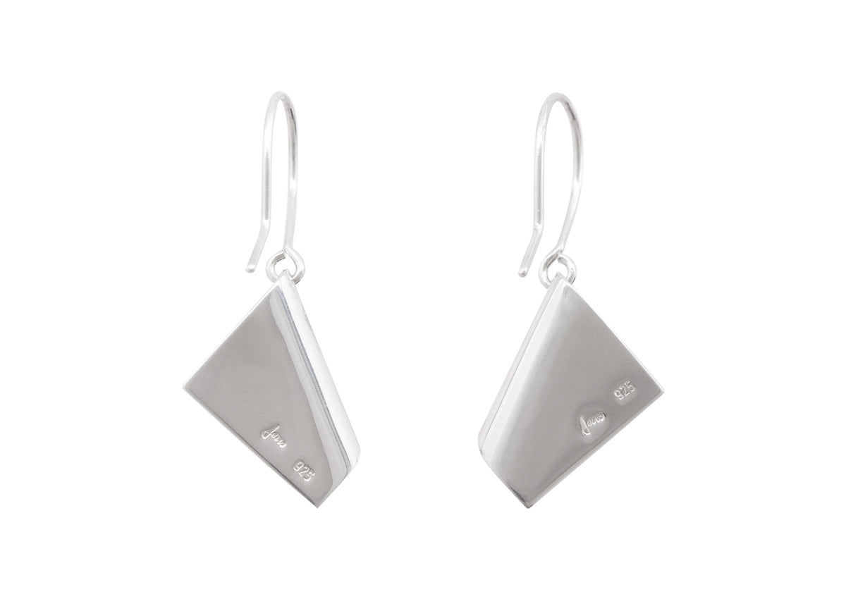 Folded Drop Earrings, Sterling Silver