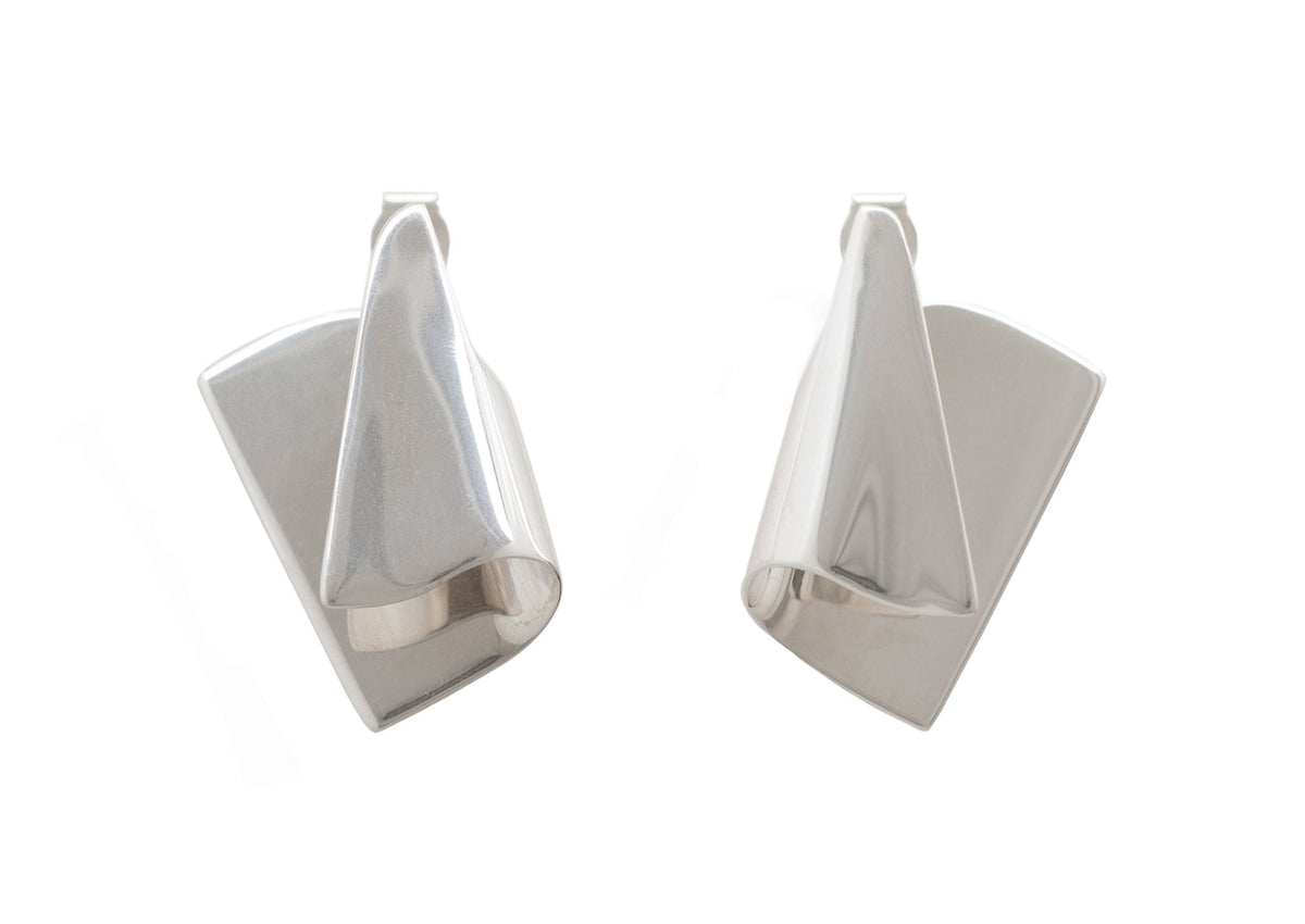 Folded Cuff Earrings, White Gold