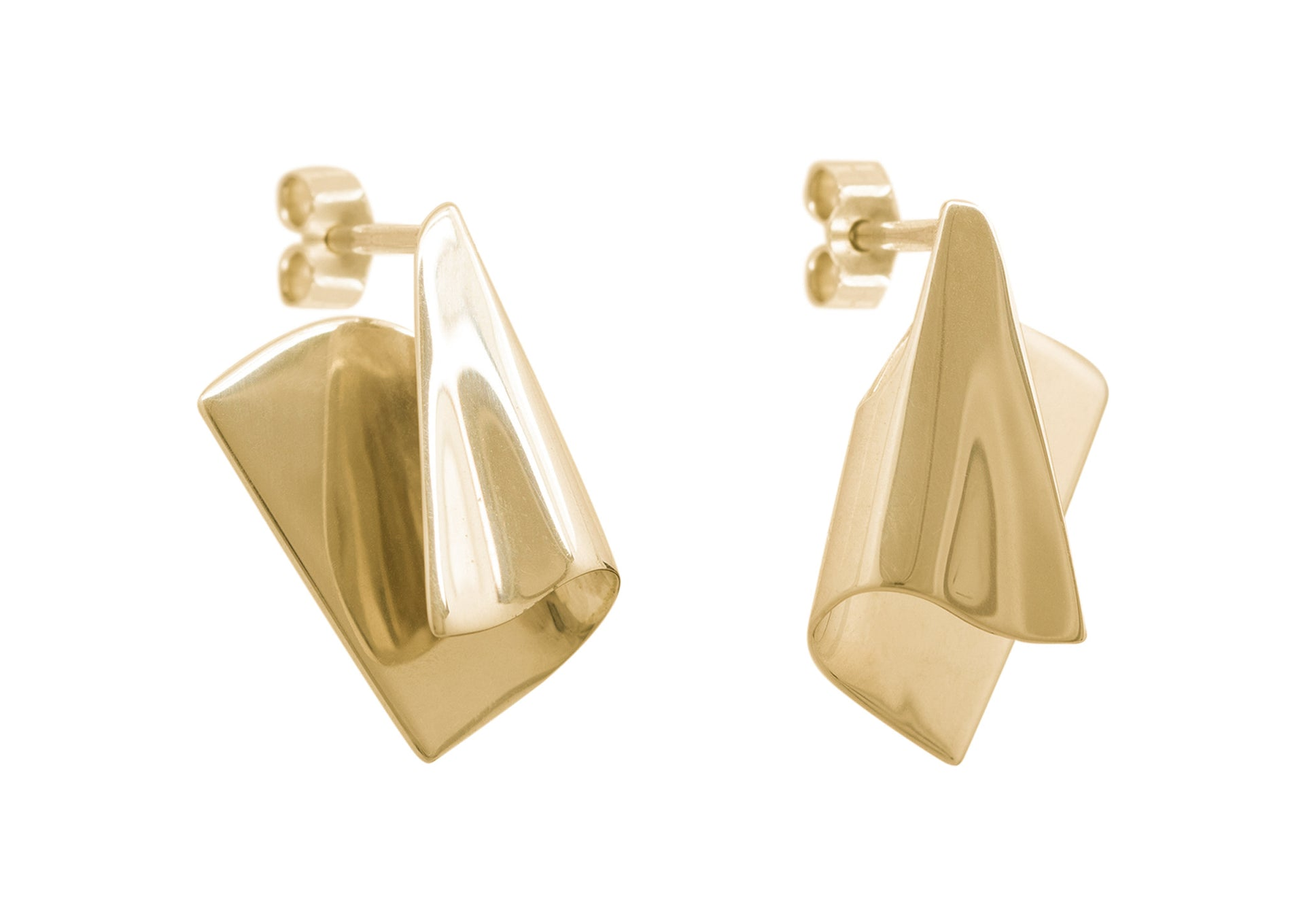 Folded Cuff Earrings, Yellow Gold