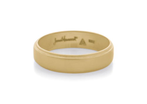 Stepped Edge Wedding Band, Yellow Gold