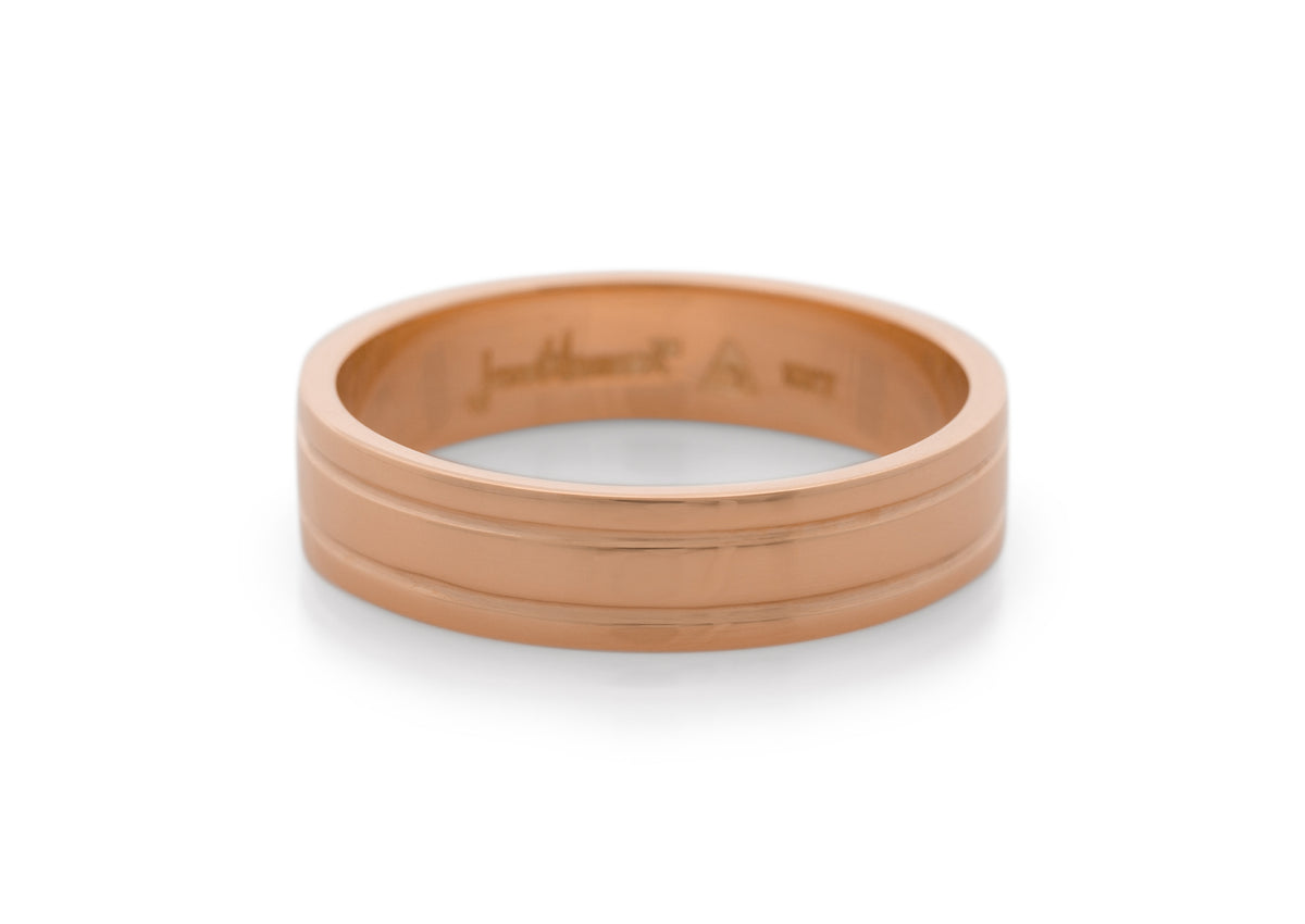 Grooved Wedding Band, Red Gold