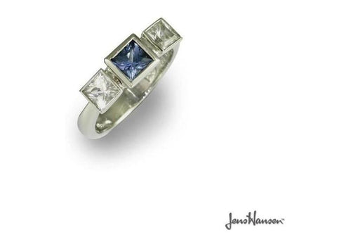 Platinum Ring with Ceylon Sapphire and Diamonds   - Jens Hansen
