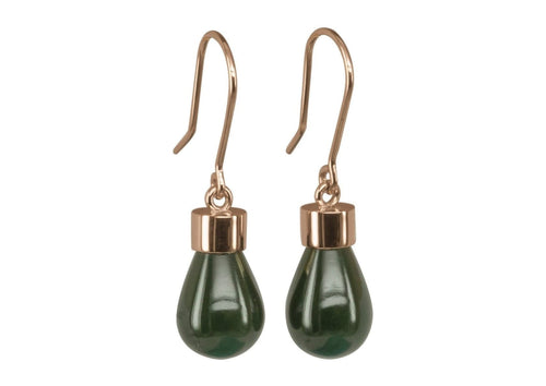 New Zealand Greenstone 'Pounamu' Earrings, Red Gold   - Jens Hansen - 1