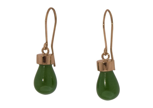 New Zealand Greenstone 'Pounamu' Earrings, Red Gold   - Jens Hansen - 2