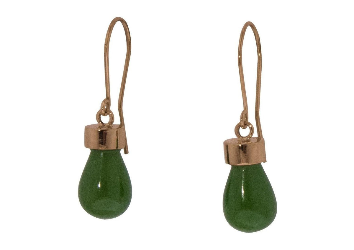 New Zealand Greenstone 'Pounamu' Earrings, Red Gold
