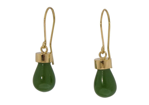 New Zealand Greenstone 'Pounamu' Earrings, Yellow Gold   - Jens Hansen - 2