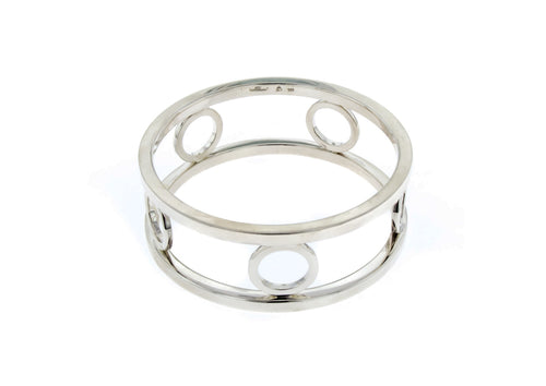 Double Rail & Circles Bangle, Sterling Silver