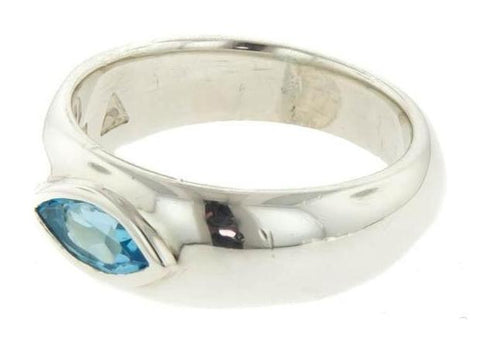 Sterling Silver Geometric Rubover Polished Ring with Topaz   - Jens Hansen