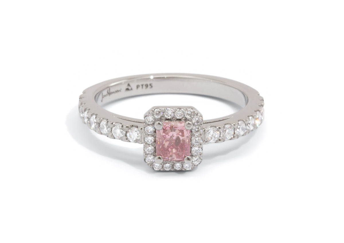 Custom Pink Diamond Halo Engagement Ring, Platinum