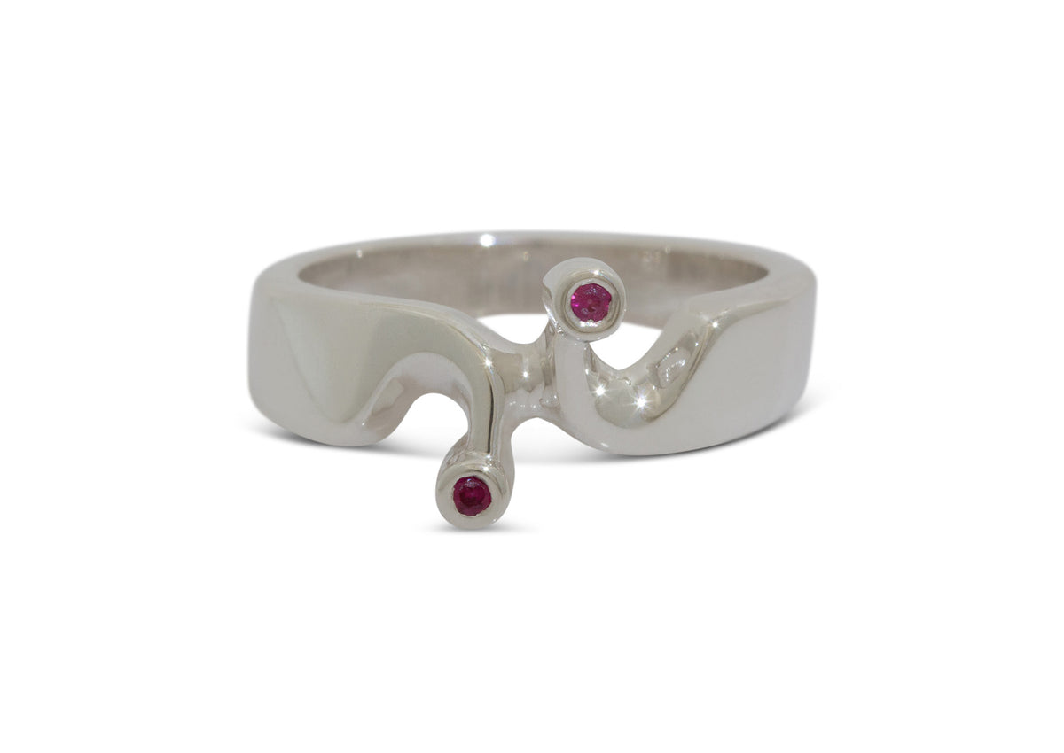 Twin Gemstone Ring, Sterling Silver