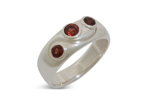 Tri Gemstone Ring, Sterling Silver