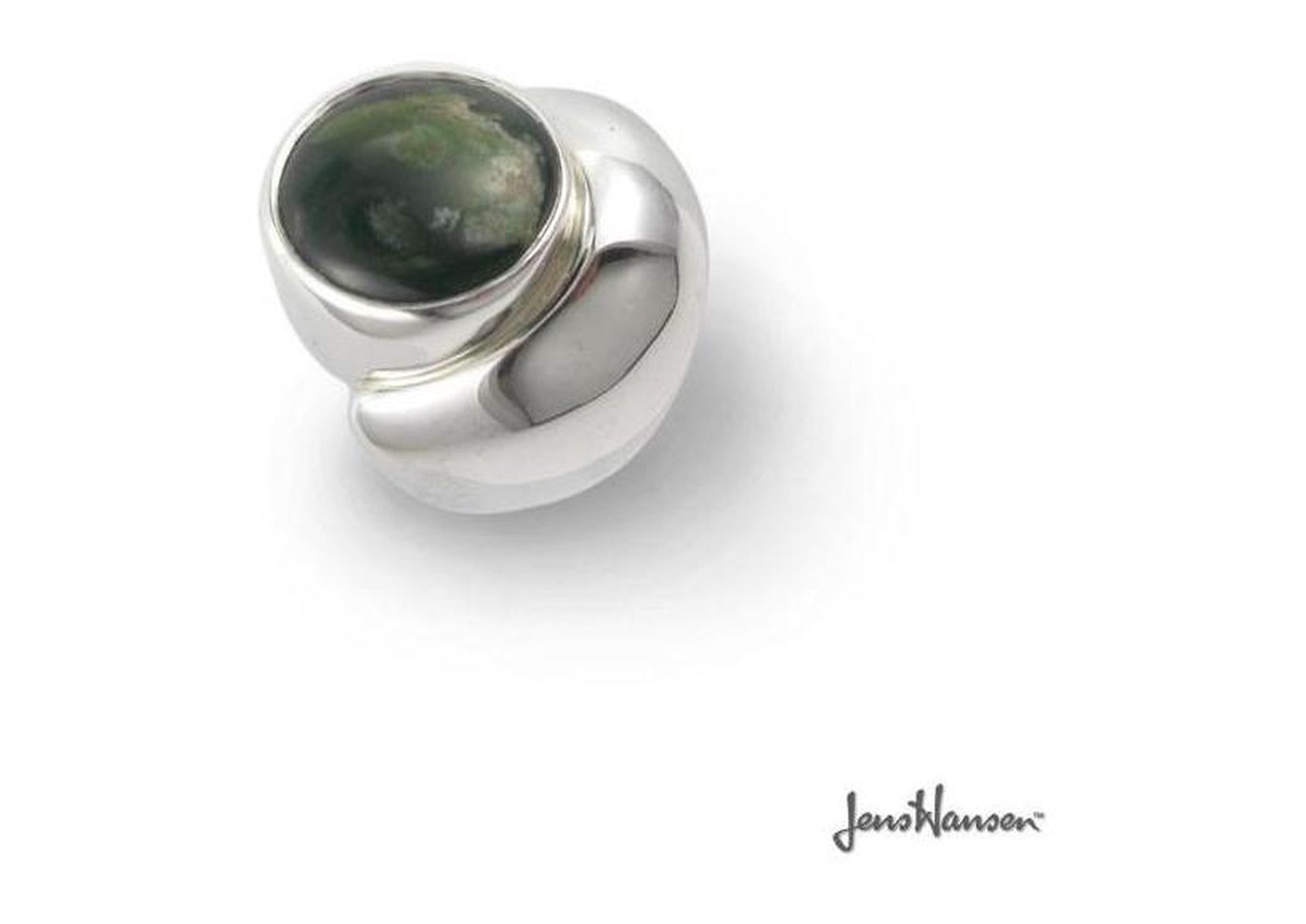 Customised Silver Ring with Green Stone   - Jens Hansen