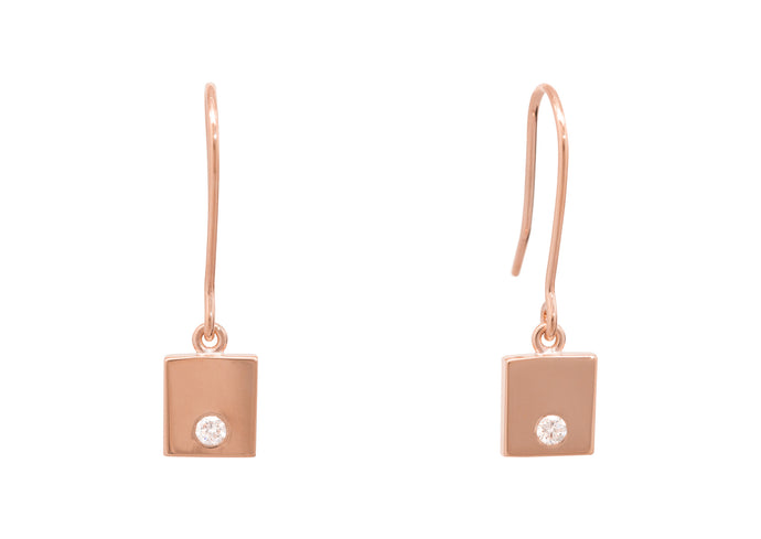 Square Love Stories Diamond Earrings, Red Gold